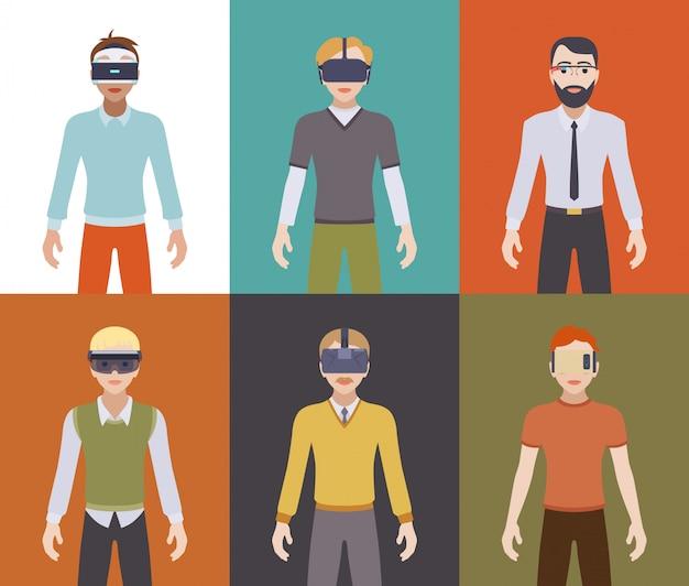 Homens nos fones de realidade virtual