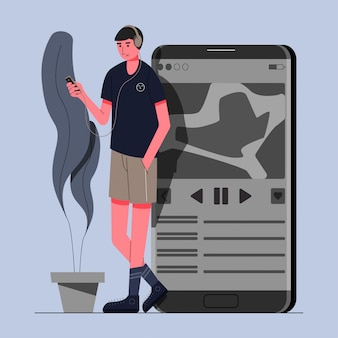 Homens ouvindo ilustração do conceito de música