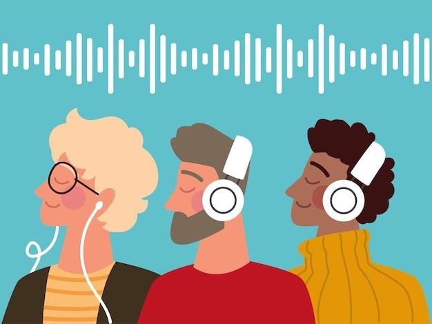 Homens ouvindo podcast