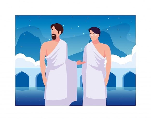 Homens peregrino hajj, dia de dhul hijjah