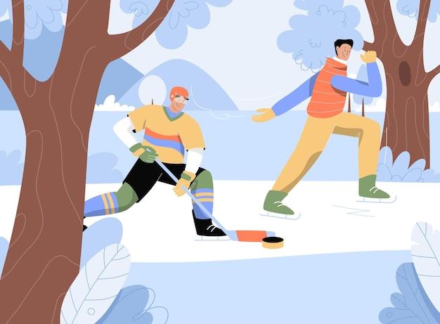 Homens praticando esportes de inverno ao ar livre, jogando hóquei e patinando