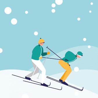 Homens praticando esqui no personagem de avatar de gelo