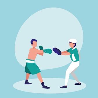 Homens praticando personagem avatar de boxe