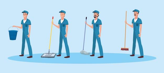 Homens produtos de limpeza e suprimentos