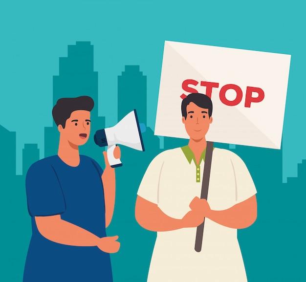 Homens protestam com cartaz e megafone, ativistas em greve, conceito de direitos humanos