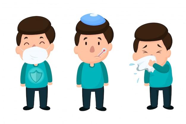 Homens que estão doentes com a gripe