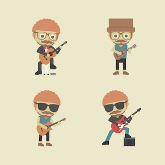 Homens que jogam a guitarra
