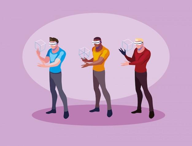 Homens que usam tecnologia de realidade aumentada