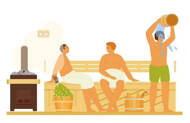 Homens relaxando, tomando banho de vapor, se encharcando de água na sauna ou no banya. atividade saudável. ilustração plana.