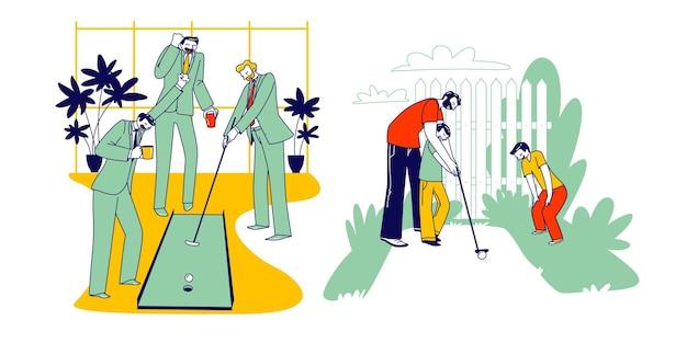 Homens respeitáveis em trajes de negócios, jogando minigolfe no escritório com colegas ou assistentes. personagens da família pai com filhos brincam no quintal da casa pai ensina crianças. ilustração em vetor de pessoas lineares