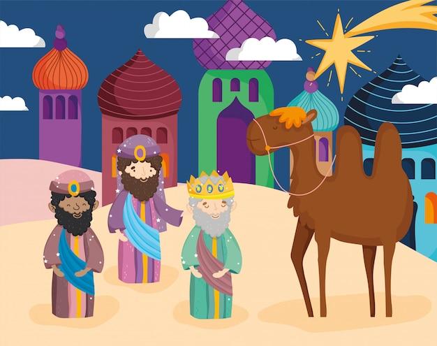 Homens sábios com um camelo na cidade