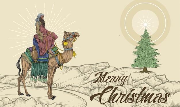 Homens sábios, montando um camelo na paisagem com estrela e árvore de natal