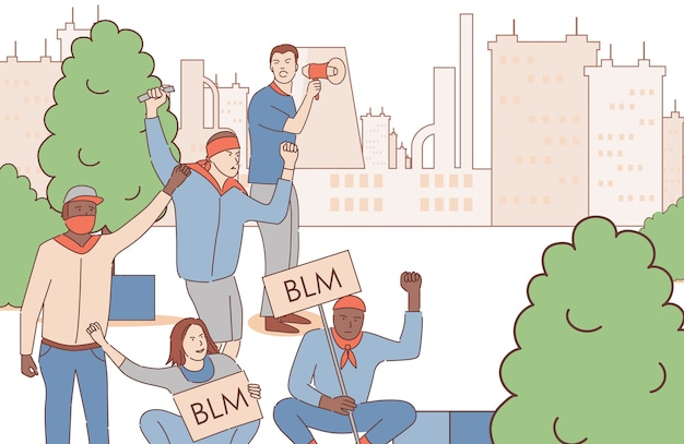 Homens segurando cartazes com palavras de black lives matter e protestando na ilustração de contorno dos desenhos animados do parque da cidade.