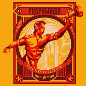 Homens, segurando, megafone, propaganda, revolução, cartaz, desenho