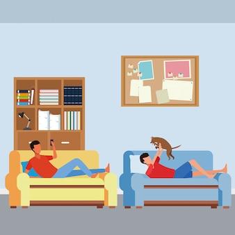 Homens sem rosto e sofá da sala de cachorro