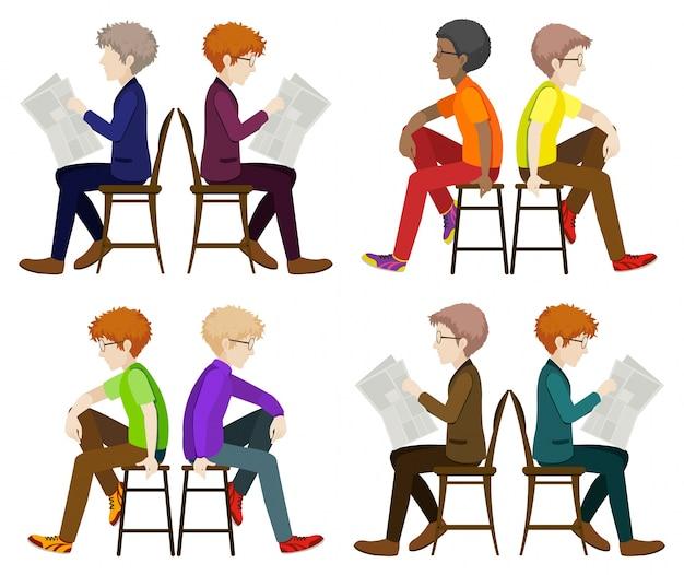 Homens sem rosto sentados
