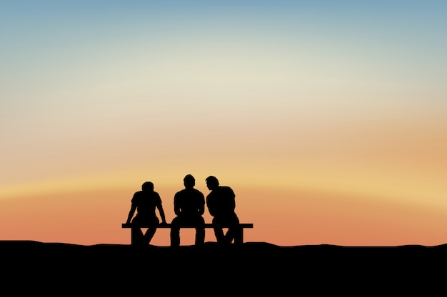 Homens sentados e conversando ao pôr do sol