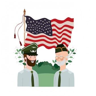Homens soldados de guerra com a paisagem e a bandeira dos estados unidos