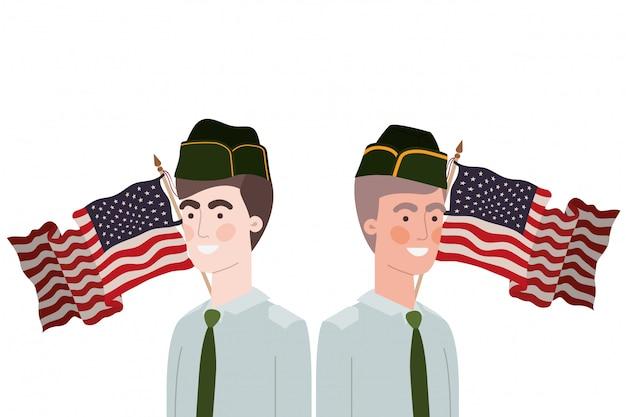 Homens soldados de guerra com bandeira dos estados unidos