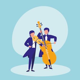 Homens tocando personagem de avatar violoncelo