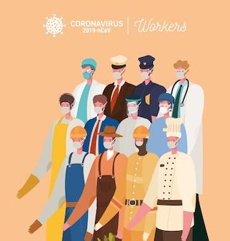 Homens trabalhadores com design de uniformes e máscaras