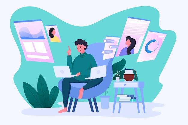 Homens trabalham em multitarefa com laptops, rede social, chat, monitoramento, análise
