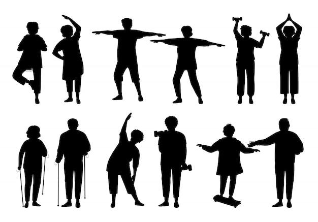 Homens velhos e mulheres monocromáticos. estilo de vida saudável e ativo pessoas mais velhas, conjunto silhueta negra. glifo idosos fazendo exercícios de manhã, ginástica
