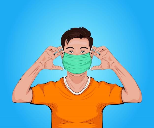 Homens vestindo máscara facial