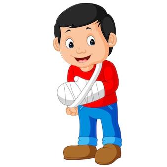 Homenzinho com o braço quebrado