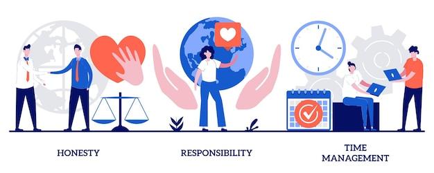 Honestidade, responsabilidade, conceito de gerenciamento de tempo com pessoas minúsculas. conjunto de ilustração vetorial abstrato de habilidades pessoais e profissionais. treinamento de pessoal, metáfora de coaching de funcionários.