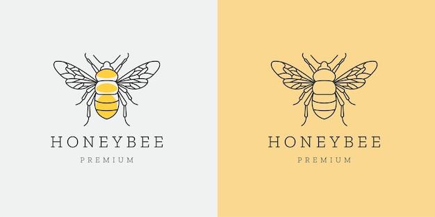 Honey bee mono linha logotipo ícone modelo de design plano Vetor Premium