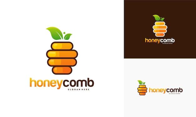 Honey comb logo design template vector, emblema, honey design concept, creative symbol,