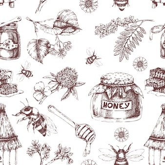 Honey hand drawn seamless pattern