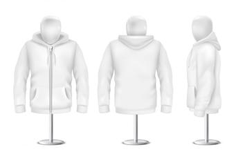 Hoodie branco realista, frente, costas, vista lateral de moletom