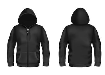 Hoodie preto realista com zíper, com mangas compridas e bolsos, modelo unissex casual