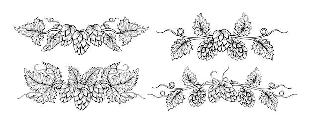Hop border plant branch sketch set frame beer