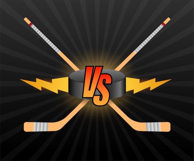 Hóquei contra o logotipo. ilustração em vetor vs letras. concorrência