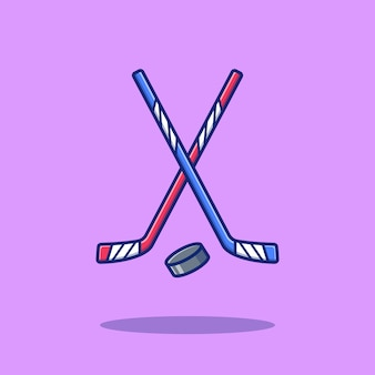 Hóquei esporte icon ilustração. conceito de ícone do esporte hóquei isolado. estilo cartoon plana