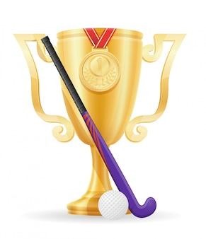 Hóquei no estoque de ouro do vencedor do copo do campo.