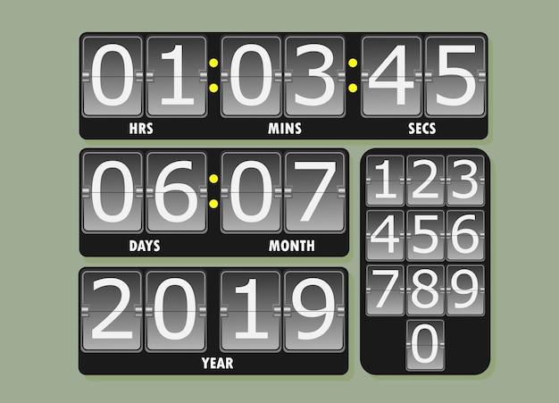 Hora da data do show digital do relógio e ano de 2019