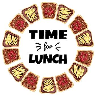 Hora da grinalda do sanduíche do almoço. sanduíche de pão torrado com bananas e pôster saudável de propagação de chocolate. café da manhã ou almoço com comida vegana. ilustração de estoque de comida vegetariana