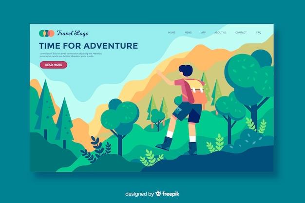 Hora da página de destino da aventura