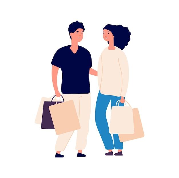 Hora das compras. mulher de homem liso isolado com sacos de eco. pessoas na loja, casal bonito de desenhos animados e compras