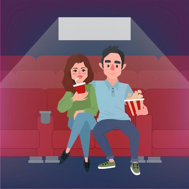 Hora de filme. jovem casal no cinema com pipoca e refrigerante