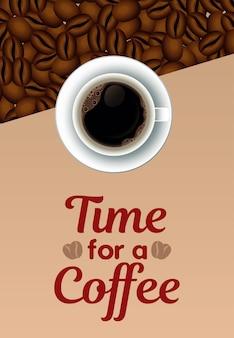 Hora de um café letras com xícara no prato e sementes