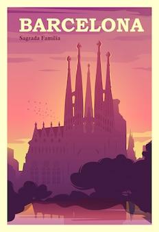 Hora de viajar. ao redor do mundo. cartaz de qualidade. espanha, catalunha.