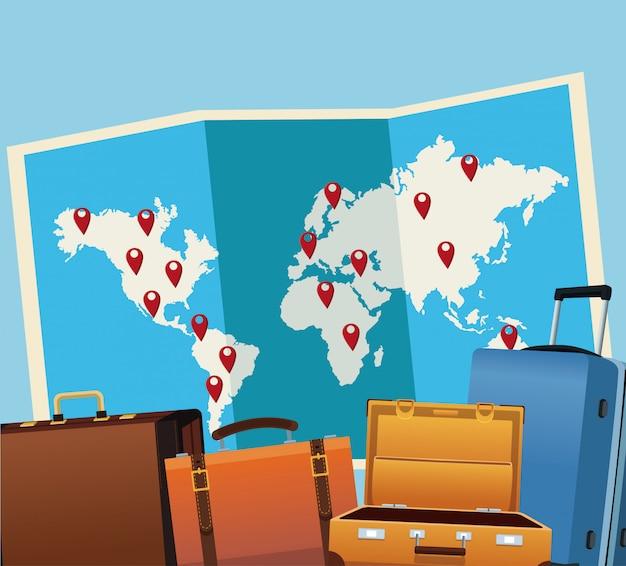 Hora de viajar ao redor do mundo vector