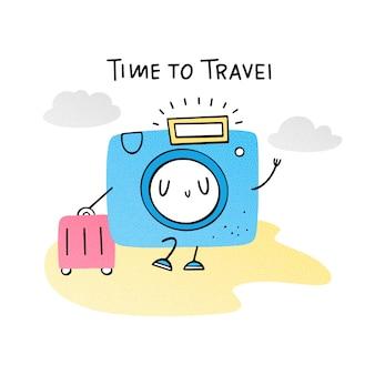 Hora de viajar. câmera emoji com mala. ilustração vetorial sobre férias. apartamento, doodle, mão desenhada