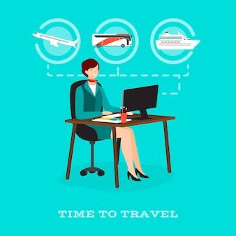 Hora de viajar conceito