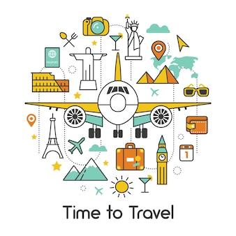 Hora de viajar de avião linha arte fina vector icons set com avião